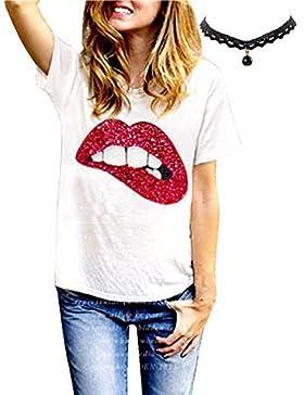 M-Queen Camisetas Mujer T Shirt Manga Corta Camisetas Cuello Redondo Casual Tops Shirts Labio de Decoracion