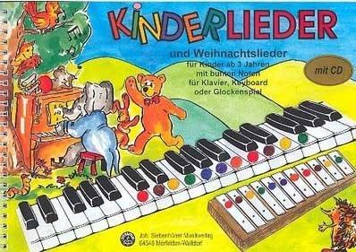 Kinderlieder und Weihnachtslieder für Kinder ab 3 Jahren mit CD: mit bunten Noten und Klebepunkten für Klavier, Keyboard und Glockenspiel
