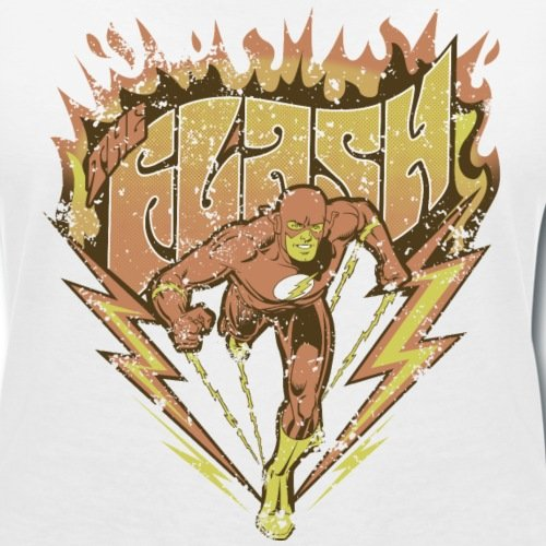 DC Comics Originals The Flash Look Usé T-shirt col V Femme de Spreadshirt® Blanc