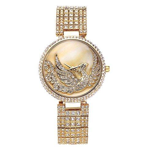 Sheli lusso placcatura in oro cristallo decorato orologio analogico Bracciale in lega