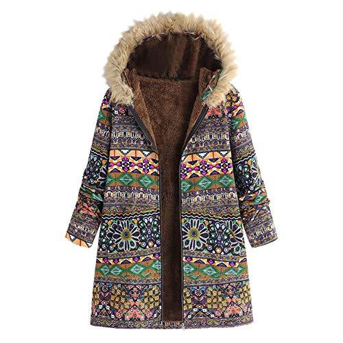 IOSDH8 Wintermantel Frauen Warm Outwear Blumendruck Mit Kapuze Taschen Vintage Übergröße Mäntel Frau Winter Mischung Mantel, L - Wolle-mischung Military Mantel