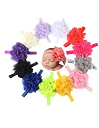 Malloom 12pc bebé niño recién nacido diadema elástica flor fotografía