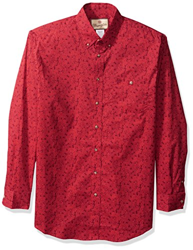 Wrangler herren Men's Western Classic Big and Tall One Pocket Shirt  Button Down Hemd  -  rot -  (And Big Button-down-hemd Tall)