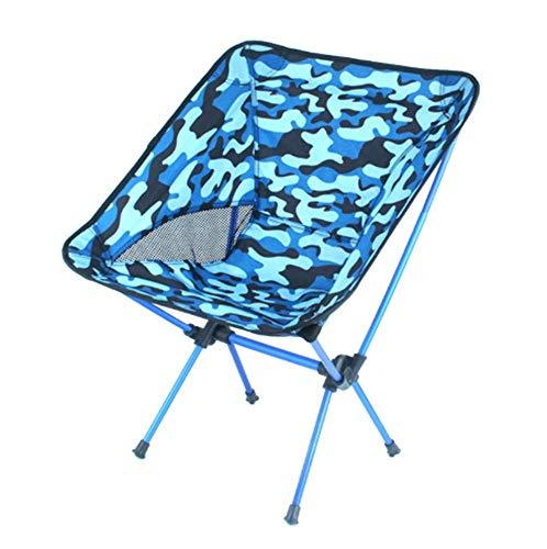 Zurück Bar Stuhl (WYIYI Outdoor Camouflage Camping Klappstuhl, Tragbare Moon Chair Angeln Stuhl Strand Zurück Skizzieren Stuhl Barbecue Hocker Direktor Stuhl Lager Gewicht 300 Pfund,Blue)