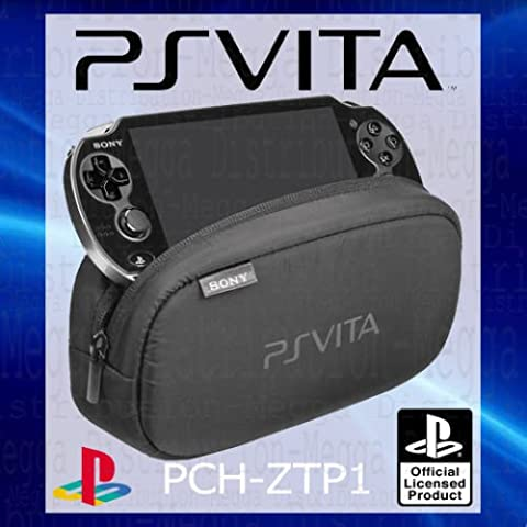 Official Sony Playstation PS Vita Soft Travel Pouch Carry Case Bag – WITH Dual Storage Compartments for Peripherals + Memory Card Slots – pch-ztp1 [OEM Packed], [Import anglais]