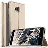 Coque Asus Zenfone 4 Selfie ZD553KL , KuGi Asus ZenFone 4 Selfie Flip Coque Premium PU Housse [Protection Complète] Couverture Multicolor avec support design pour Asus Zenfone 4 Selfie ZD553KL 5, (Or)
