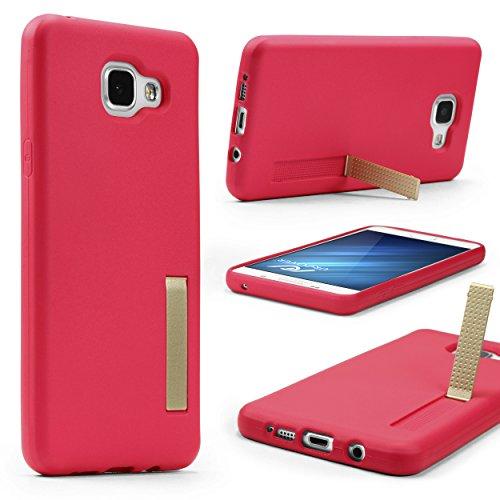 Urcover Custodia Clip Cavalletto Compatibile con Samsung Galaxy A5 2016   Cover Morbida e Leggera Silicone TPU in Fucsia Back-Case Flessibile Protettiva