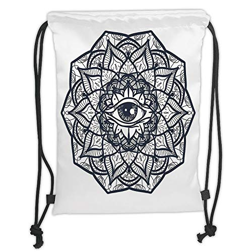 Trsdshorts Drawstring Backpacks Bags,Occult,Abstract Ornamental Eye with Ethnic Mandala Form Providence Energy in Action Design Decorative,Black White Soft Satin,5 Liter Capacity,Adjustable S