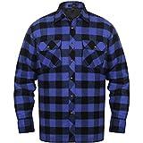 Festnight Herren Arbeitshemd Herrenhemd Flanell-Hemd Holzfällerhemd Flanell Gepolstert Langarm Hemd Blau-Schwarz Kariert Größe XXL