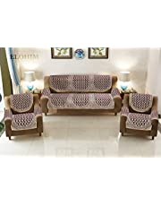 ELOHIM™ 5 Seater Cotton Sofa Cover Set with 6 Pieces Arms Cover (Set of 12 Piece) (Maroon)