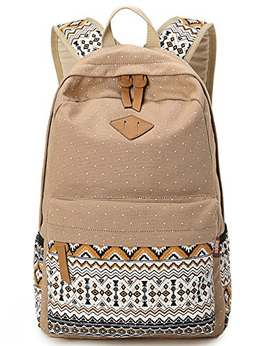Leaper Rucksack aus Canvas mit hübschem Polka Dot aztekischen Mustern Schulrucksacke (Khaki) (Canvas Khaki)