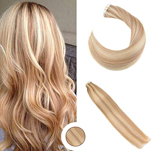 Ugeat 16 zoll Tape in Hair Extensions Strawberry Blonde Mixed with Bleach Blonde 100% Real Haarverlängerung Echthaar Silky Straight 50g 20pcs - Strawberry Hair Extensions