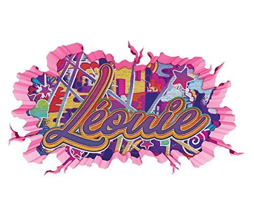 3D Wandtattoo Graffiti Léonie Mädchen Name Wand Aufkleber Wanddurchbruch Girl sticker Wandbild Kinderzimmer 11U131, Wandbild Größe F:ca. 97cmx57cm (Mädchen-namen-aufkleber)