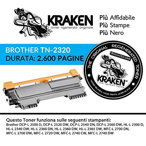 Kraken, Il Toner Rigenerato Originale Per Stampante Laser Mfc l2700dw Tn2320 Standard Fino A 2600 Stampe, Colore Nero, Compatibile Con MFC-L2740DW, Dcpl2500d, Hll2300d, Hll2340dw