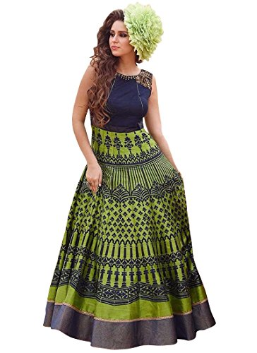 Seller King Green Printed Benglori Silk Anarkali Semi Stiched Dress Material (Dress_167_FreeSize_Green)
