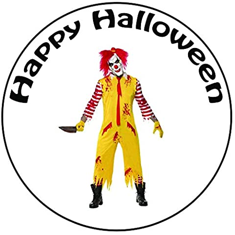 Happy Halloween Freaky Evil Clown Cake Topper - A Pre-cut Round 8