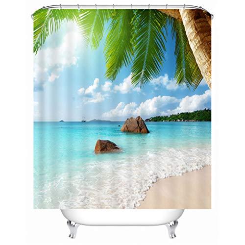 X-Labor Strand Motiv Duschvorhang Wasserdicht Stoff Anti-Schimmel inkl. 12 Duschvorhangringe Waschbar Badewannevorhang 240x200cm Muster-E