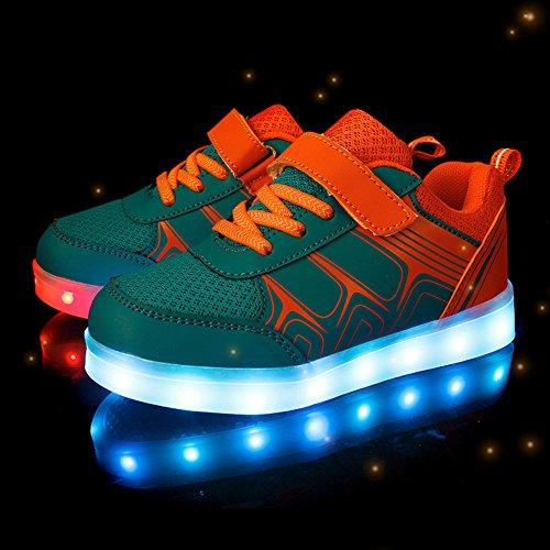 Cool&D LED Schuhe 7 Farben Leuchtend Kinder Schuhe Sportschuhe USB Aufladen LED Sneaker brillant Stil Turnschuhe für Mädchen Jungen Orange