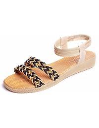 Longra Donne Bohemia Flats Sandal (EU Size:36, Rosso)