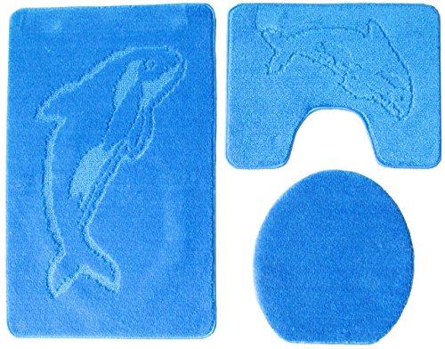 3- teilig Badgarnitur 100x60cm blau Badset Delphin hellblau Stand-WC Badematten Badteppich