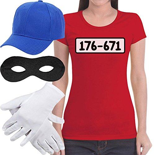 Panzerknacker Banditen Bande Kostüm Shirt + MÜTZE + Maske + Handschuhe Frauen T-Shirt Slim Fit Medium Rot