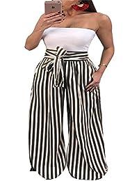 f82ada98c536e8 FuweiEncore Women's Wide Leg Hosen Große Elefanten Hosen Hosen Hohe Taille  Chic Printed Stripe mit Gürtel
