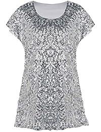 f6a6e25fe7cde8 PrettyGuide Damen Funkeln Shirt Glitter Pailletten Dolman Loose Tunika  Bluse Top
