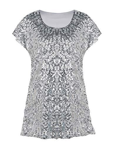 ee4fb57029c7 PrettyGuide Damen Funkeln Shirt Glitter Pailletten Dolman Loose Tunika  Bluse Top Silber L EU44-46