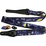 """Van Gogh """"Starry Night"""" Guitar Strap Bundle Includes 2 Strap Locks & 2 Matching Picks. Adjustable Polyester Guitar Strap - Suitable For Bass, Electric & Acoustic Guitars"""