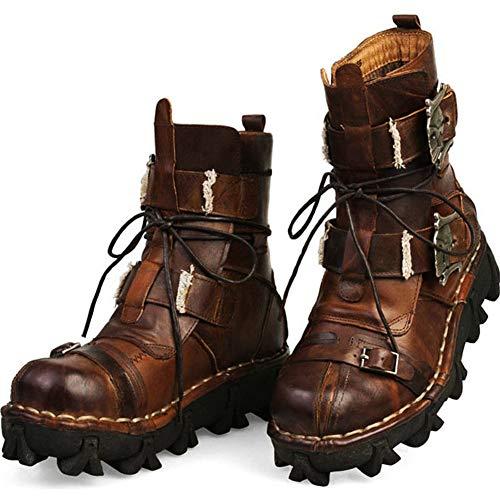 Sssxz - Stivali da Uomo in Pelle, Stivali in Pelle Mid-Tube-Martin, Stivali da Moto Harley, Giallo (Stiefel), 38 EU
