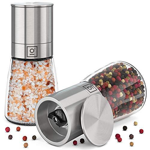 Garcon Salz und Pfeffer Mühle mit verstellbarem Keramikmahlwerk - Edle Salz und Pfeffermühle aus Edelstahl & Glas im Set