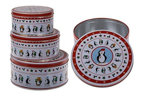 Plätzchendose Gebäckdose Blechdosen Vorratsdosen mit niedlichem Pinguinmotiv 3 Stück
