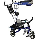 'Kiddo Blue Smart New Design 4-in-1 Childrens Tricycle Kids Trike 3 Wheel Bike Parent Toddler Trike New - Blue