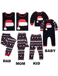 Aiweijia Juego de Pijama navideño Familiar a Juego Ropa de Dormir Ropa de casa Algodón Negro
