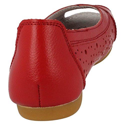 Mesdames Lifestyle Décontracté en cuir Peep Orteils Sarah Rouge - rouge