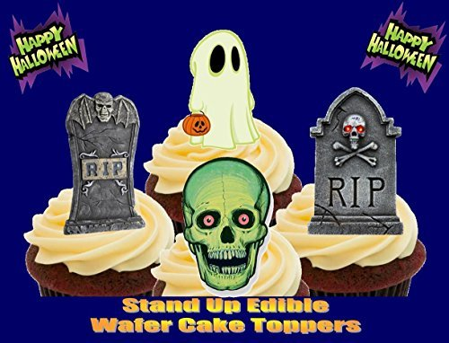 Halloween RIP Grabsteine Ghost Schädel Mix - Witzige Neuheit PREMIUM AUFRECHTSTÄNDER Essbare Wafer Papier Kuchen Spitzenwerken Deko (Halloween-kuchen-mix)