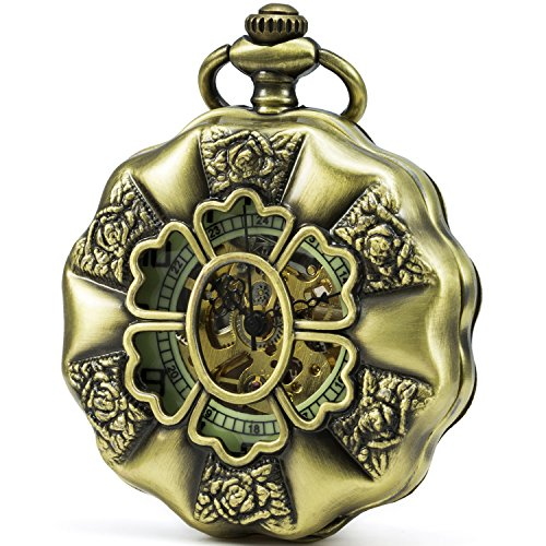 SEWOR Flower Shape Hollow Arabic Numerals Mechanical Hand Wind Pocket Watch Black Case (Gold)