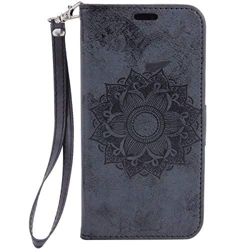 Herbests Handy Schutzhülle für iPhone XS Handyhülle Mandala Blumen Leder Hülle Brieftasche Ledertasche Klapphülle Handy Tasche Flip Case Leder Case mit Kartenfächer Magnet,Schwarz