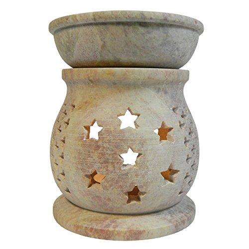 Brûle-parfum Diffuseur d'arômes en stéatite pierre à savon avec coupe en stéatite Grille décorative en forme de gouttes de pluie Artisanat ind