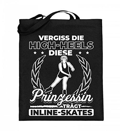 Echte Prinzessinnen tragen Inline Skates - Jutebeutel (mit langen Henkeln)