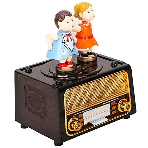 BYBAY Music Box Cartoon Liebhaber Puppe Modell Einzigartige Radio Musik Nette Wohnkultur Kinder Karussell Spieluhr - Kurbel Beste Radio