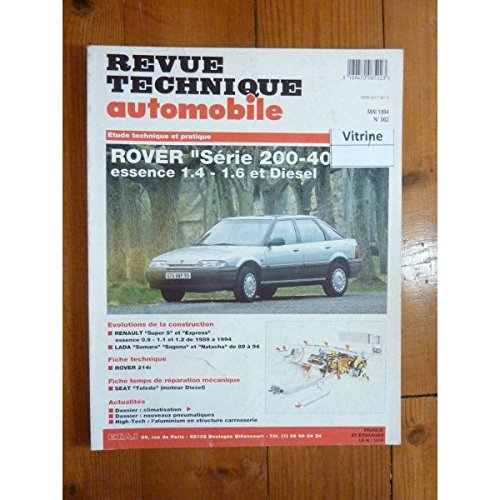RTA0562 - REVUE TECHNIQUE AUTOMOBILE ROVER Série 200-400 Essence 1.4l - 1.6l et Diesel