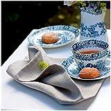 Linen & Cotton 4 x Luxus Stoffservietten ANABELLA, 100% Leinen - 47cm x 47cm (Natur/Grau/ Beige), Ideal für Hochzeit Gastronomie Hotel Restaurant Café Küche Catering Vereinsfeier Geburtstagsfeier