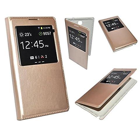 housse etui coque flip S-VIEW cover cache batterie gold doré pour samsung galaxy S5 mini ETUI HOUSSE S-VIEW COVER POUR SAMSUNG GALAXY S5 mini