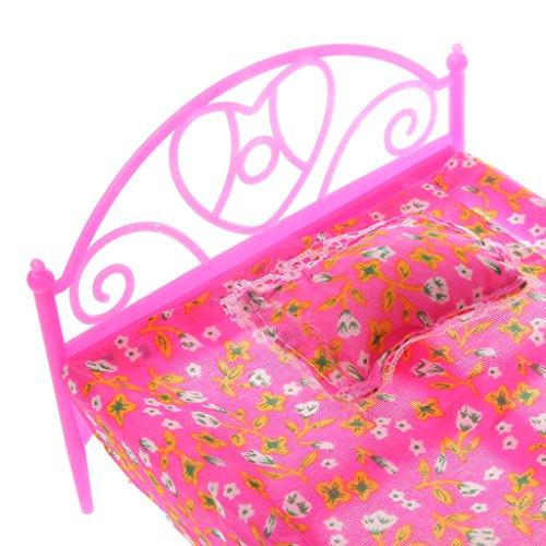 MagiDeal Mini Letto + lenzuolo + Cuscino per Bambole Barbie Decorzazione e Mobili per Casa delle Bambole