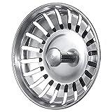 Xinxun Edelstahl Siebkörbchen Küche Drain Filter Sieb Abfallstopfen mit Zapfen für Exzenter-Bedienung Durchmesser 79 mm