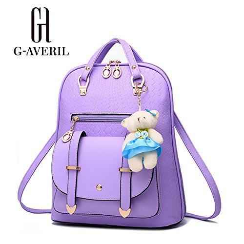 (G-AVERIL) Donna PU Pelle Morbida Stile College Le Ragazze Del Cuoio Del Faux Scuola Borsa Casual Borsa Zainetto Purple
