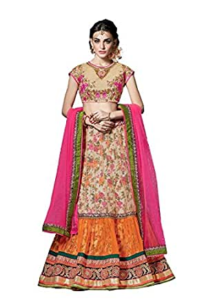 Pcc Womens Beige Striking Lehenga Choli With Embroidery