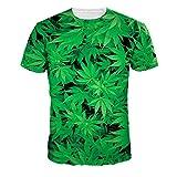 Jiayiqi Verde Hoja De Marihuana Camisetas Casuales De Los Tops De Belleza Hojas De Arce De La Camiseta