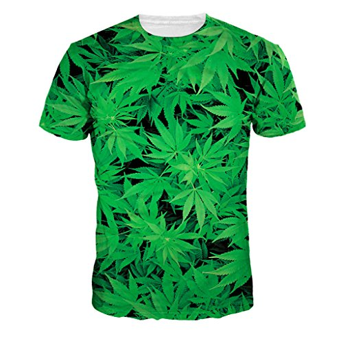 Jiayiqi Verde Hoja De Marihuana Camisetas Casuales De Los Tops De...